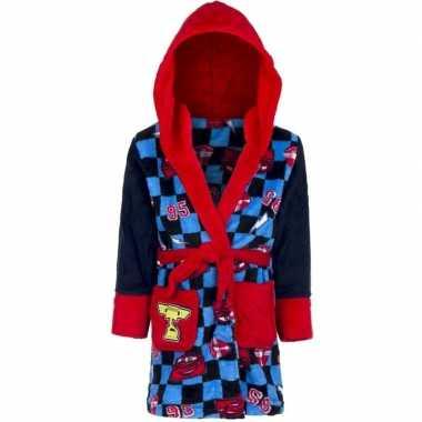Blauw/rode cars badjas capuchon jongens kind