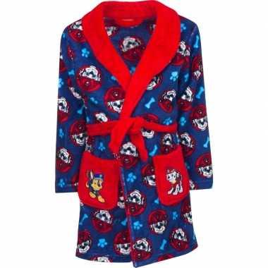 Blauw/rode paw patrol badjas capuchon jongens kind