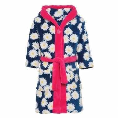 Blauw/roze badjas/ochtendjas margriet bloemen kinderen