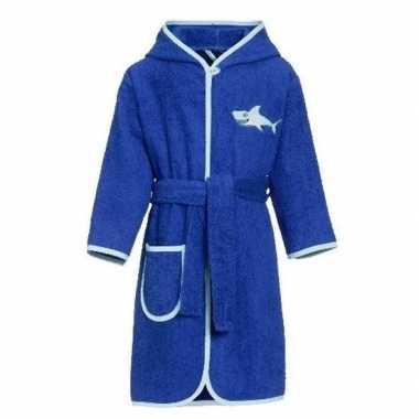 Blauwe badjas/ochtendjas haai borduursel kinderen