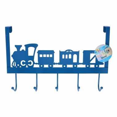 Blauwe kinderkamer deur kapstok treintje 28 31 9