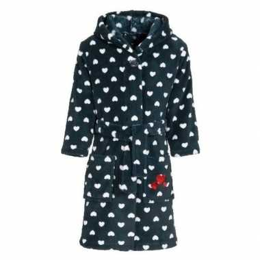 Donkerblauwe badjas/ochtendjas hartjes kinderen