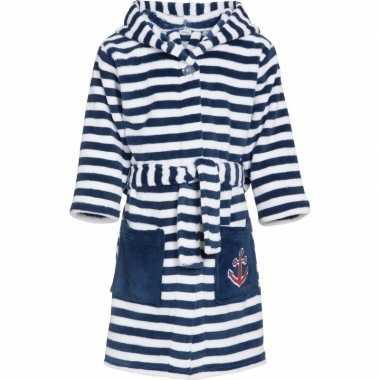 Gestreepte badjas blauw/wit jongen kind