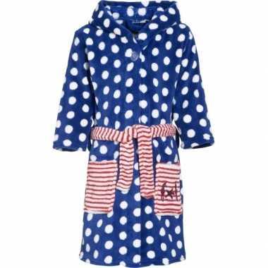 Kinder badjas blauw stippen