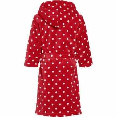Kinder badjas rood stippen