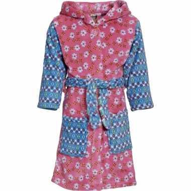 Kinder badjas roze/blauw bloemen