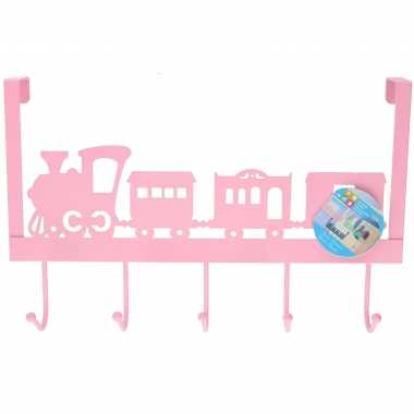 Roze kinderkamer deur kapstok treintje 28 31 9