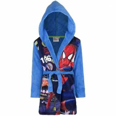 Spiderman fleece badjas blauw jongens kind