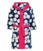 Blauw roze badjas ochtendjas margriet bloemen kinderen