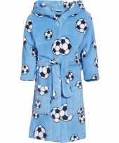Blauwe badjas voetbal jongens kind