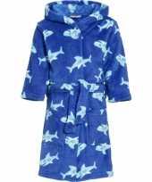 Kinder badjas blauw haaien kind