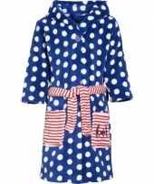 Kinder badjas blauw stippen kind