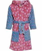 Kinder badjas roze blauw bloemen kind